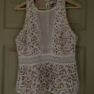 Do + Be Large White Lace Top